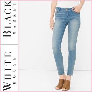 WHBM Leather Trim Skimmer Denim Jeans